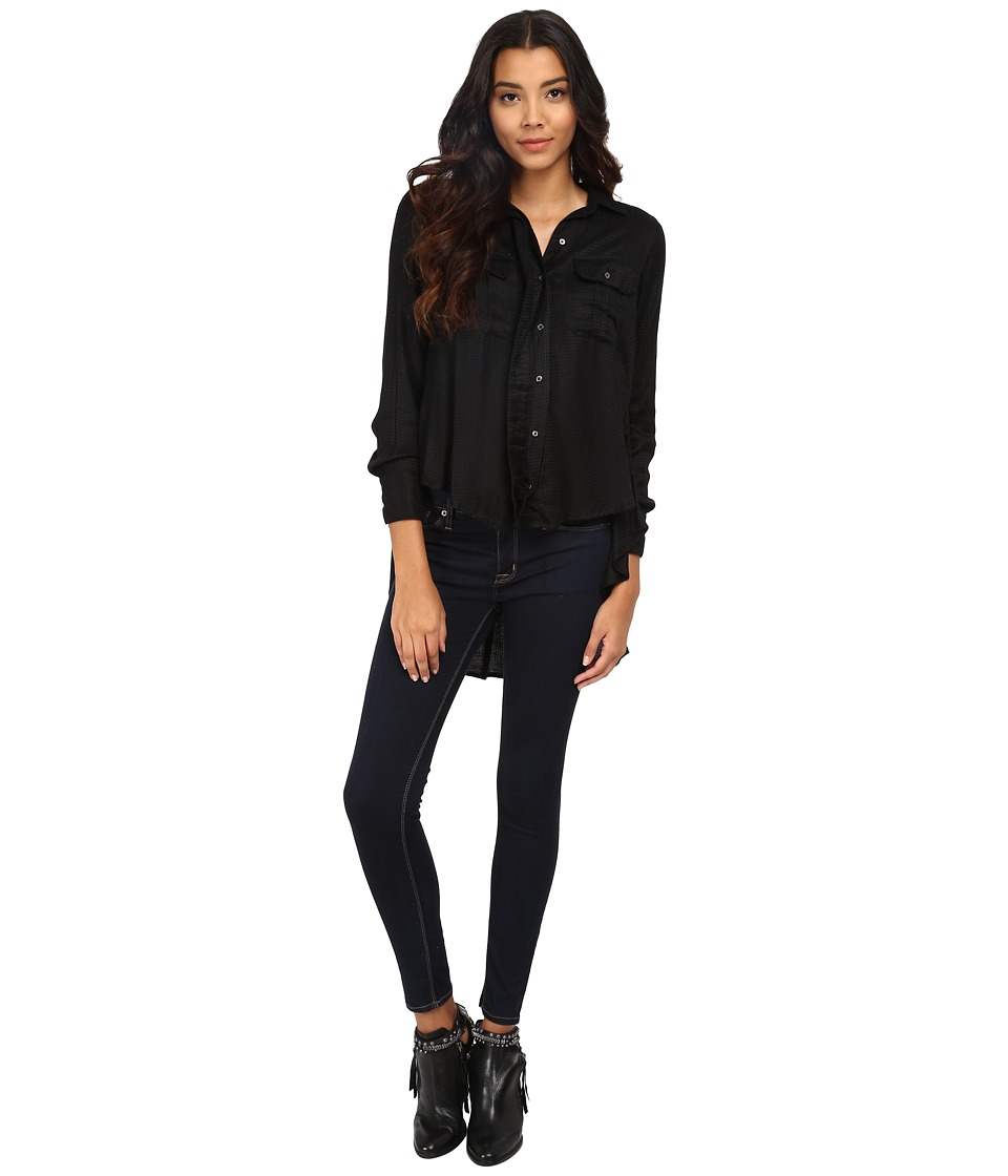 Free People - One of the Guys Button Down (Black) Women's Clothing