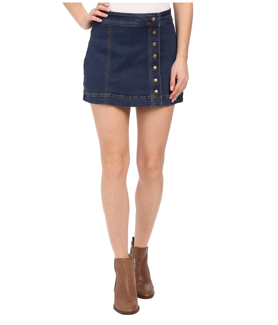 Free People - Assymmetrical Button Down Skirt (True Blue) Women's Skirt