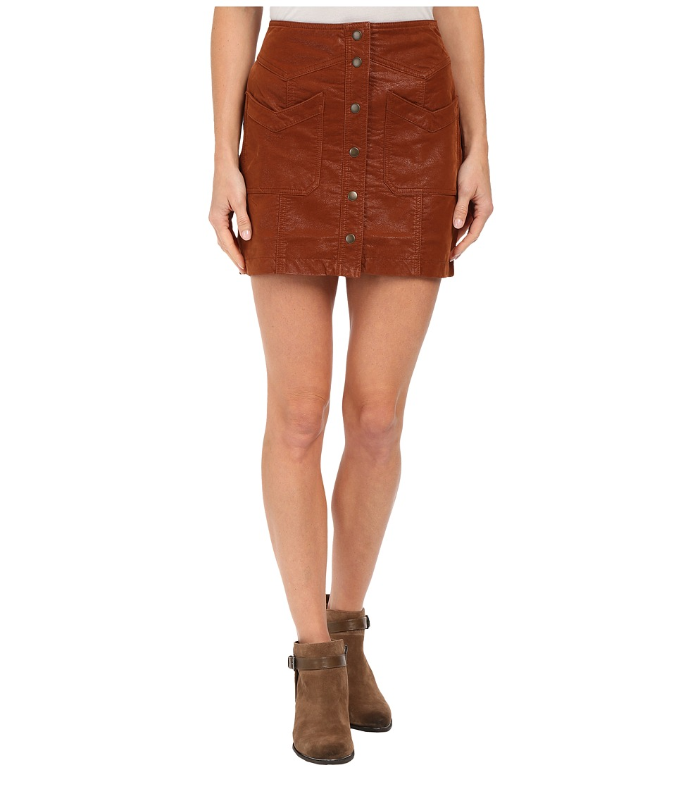 Free People - Come A Little Closer Faux Leather Skirt (Toffee) Women's Skirt