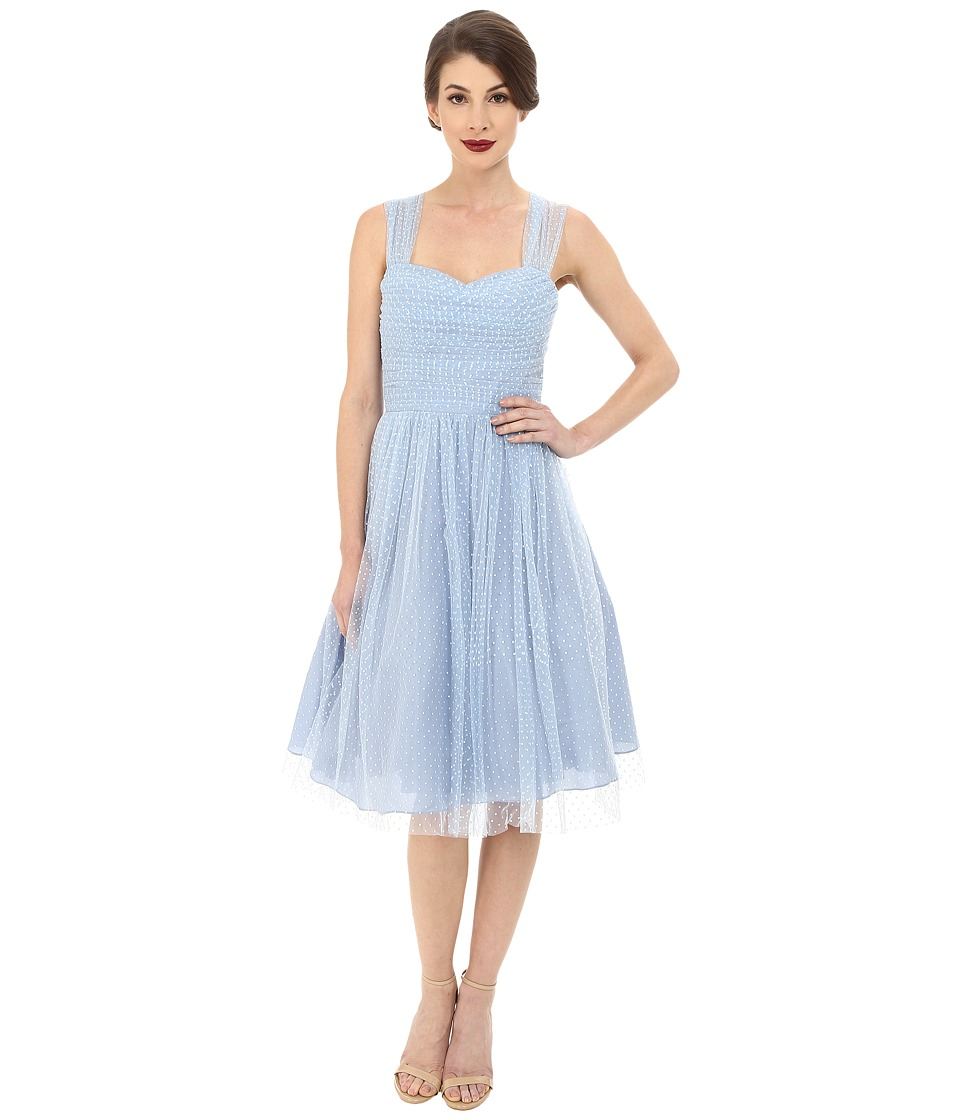 Unique Vintage - Chiffon Garden State Dress (Slate Blue Dot) Women's Dress