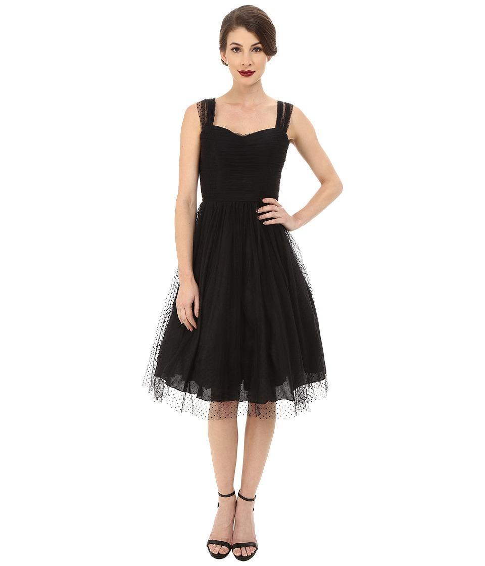 Unique Vintage - Chiffon Garden State Dress (Black Dot) Women's Dress