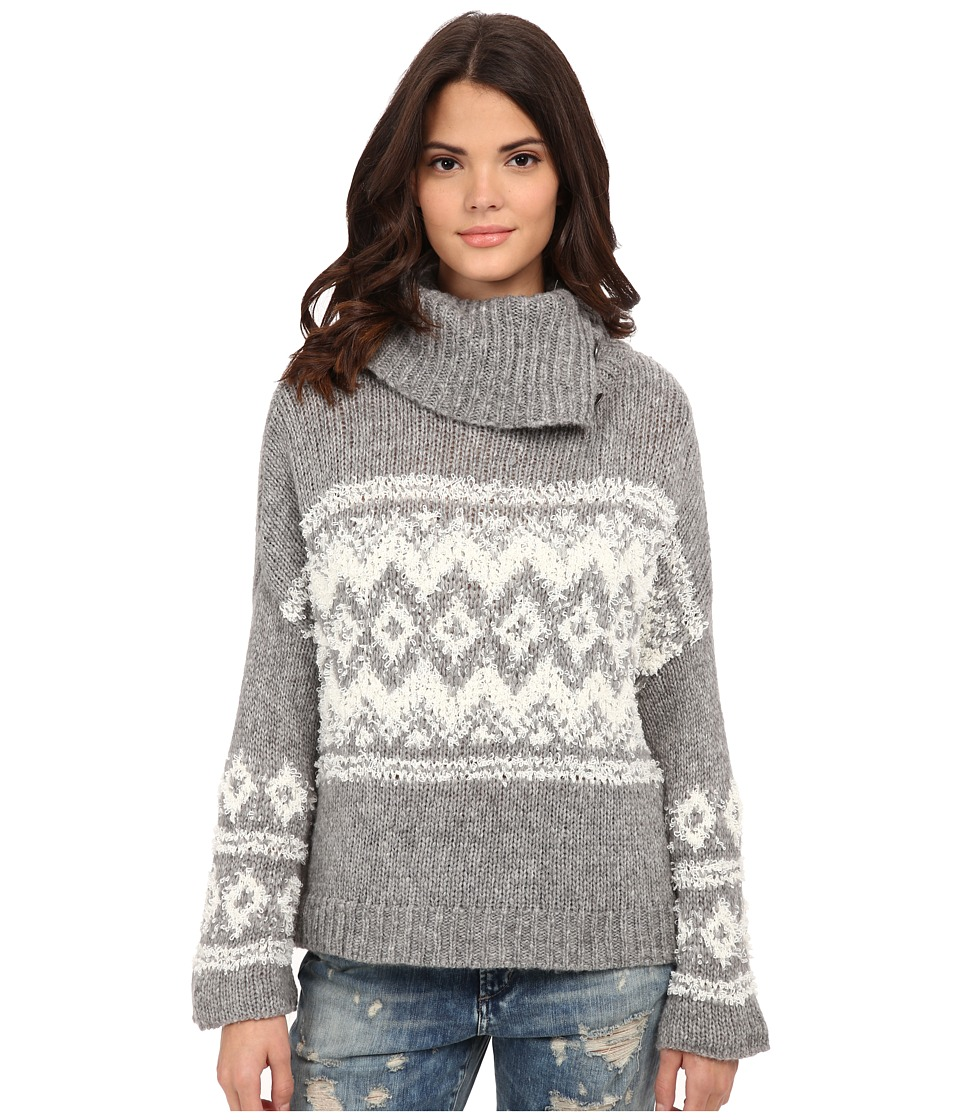 Free People - Fairisle Ragnar Split Neck Pullover (Charcoal/Ivory) Women