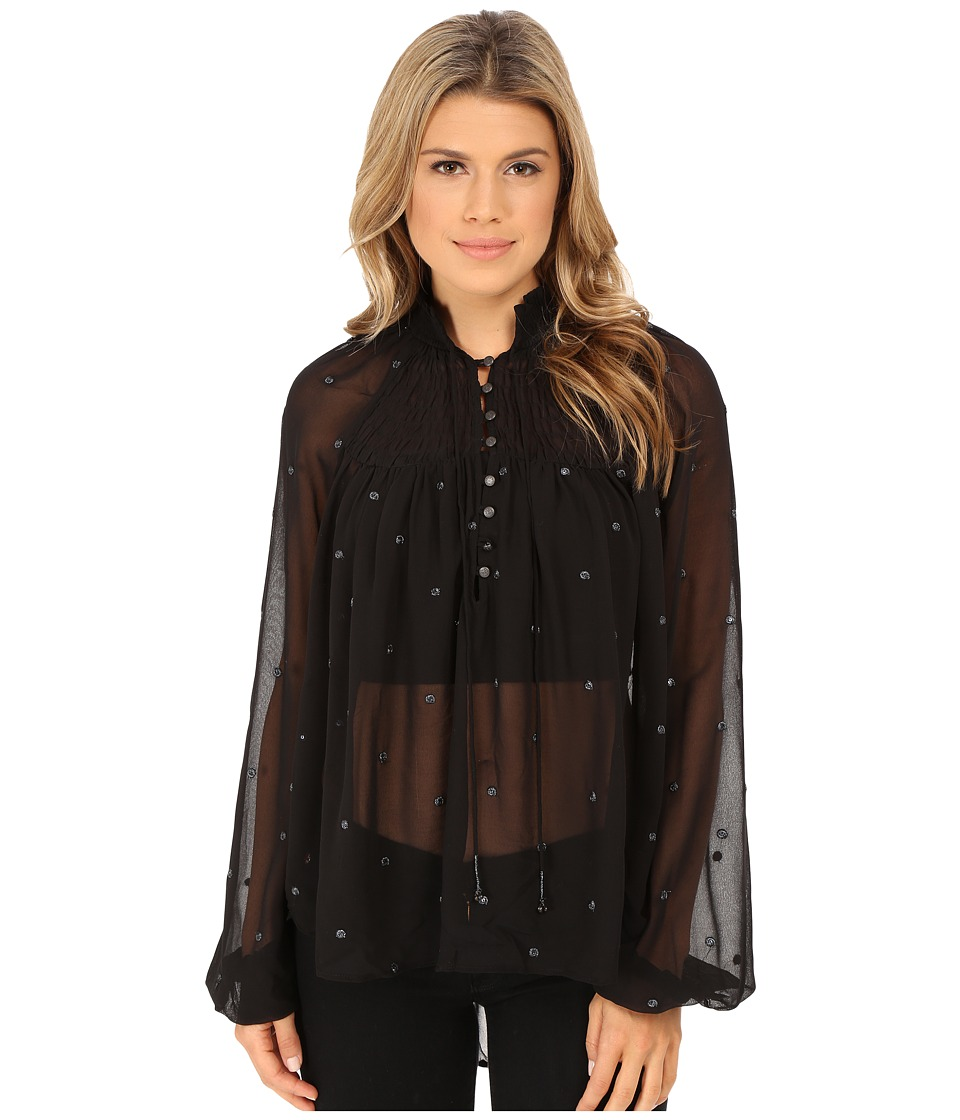 Free People - Ready To Run Smocked Top (Black) Women's Blouse