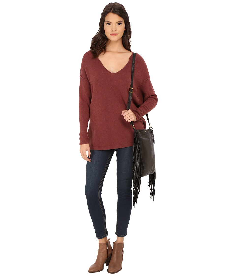 Free People - Softly Vee Sweater (Plum) Women's Sweater