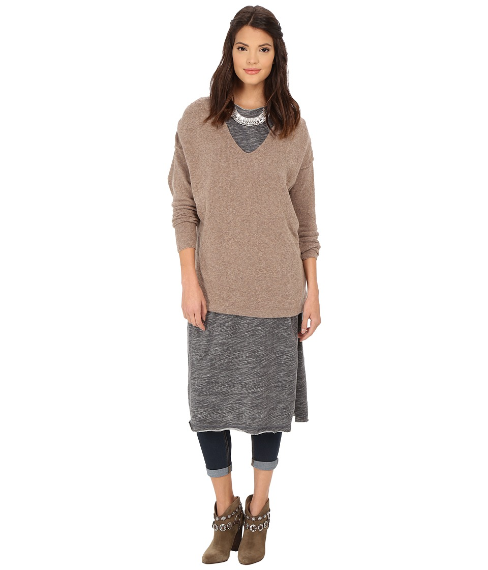 Free People - Softly Vee Sweater (Taupe) Women's Sweater
