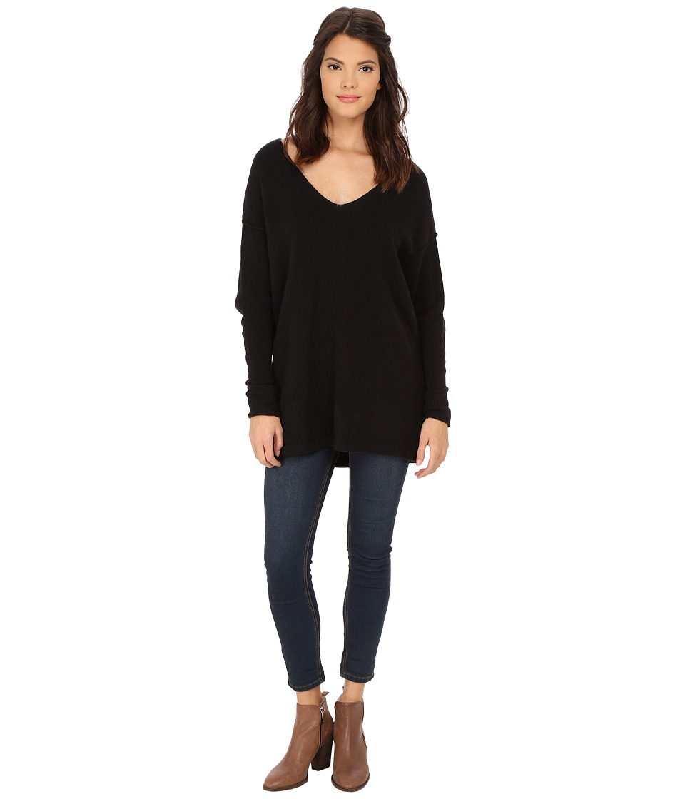 Free People - Softly Vee Sweater (Black) Women's Sweater
