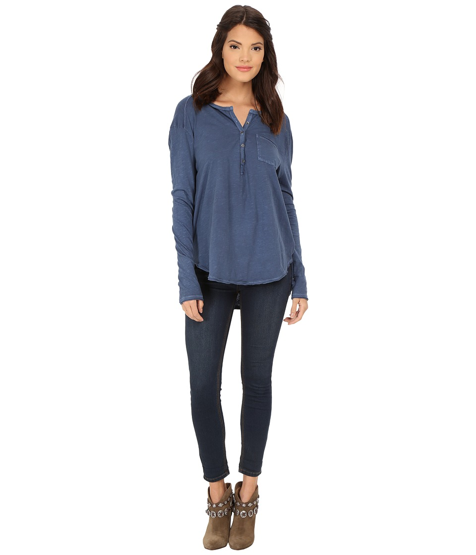 Free People - Frontier Henley (Indigo) Women's Clothing