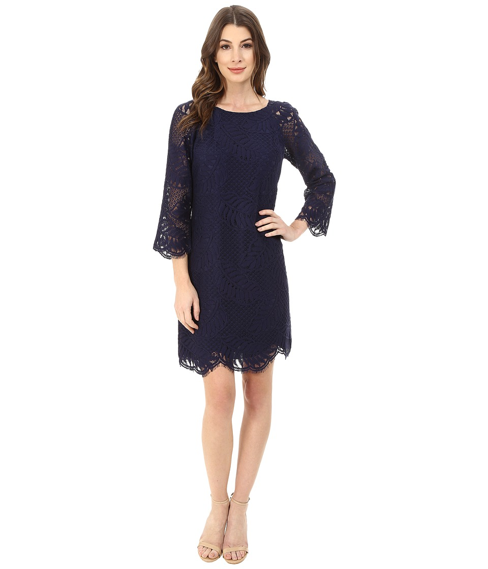Lilly Pulitzer - Rylee Shift Dress (True Navy Palm Leaf Lace) Women's Dress