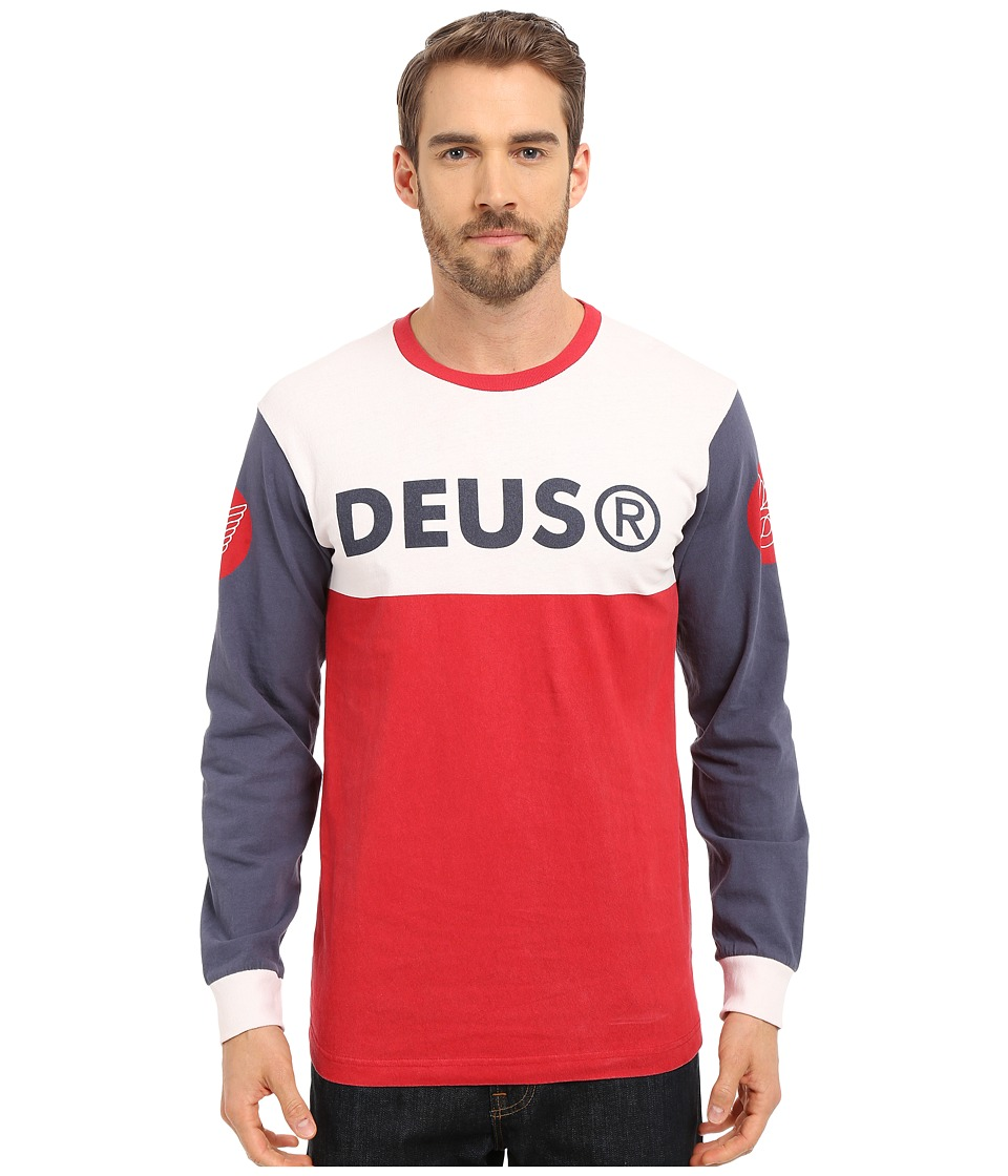 Deus Ex Machina - Trickers Long Sleeve Tee (White/Red ) Men's T Shirt