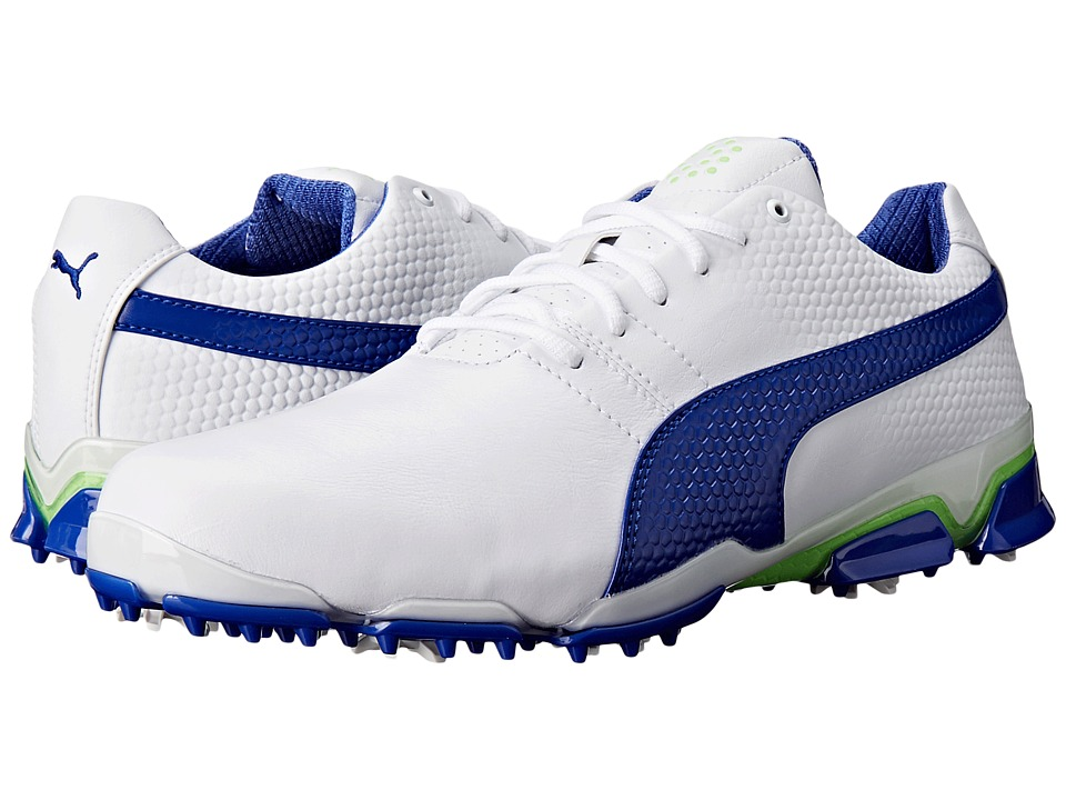 PUMA Golf - Titantour Ignite (White/Surf the Web/Green Gecko) Men's Golf Shoes