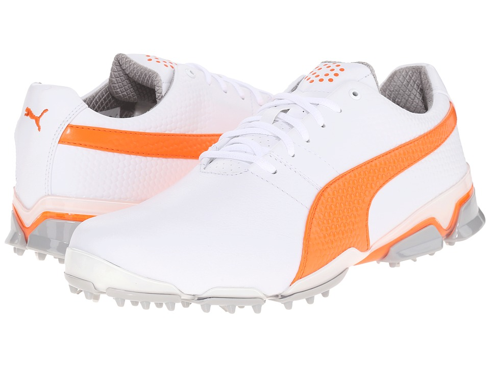 PUMA Golf - Titantour Ignite (White/Vibrant Orange/Drizzle) Men's Golf Shoes