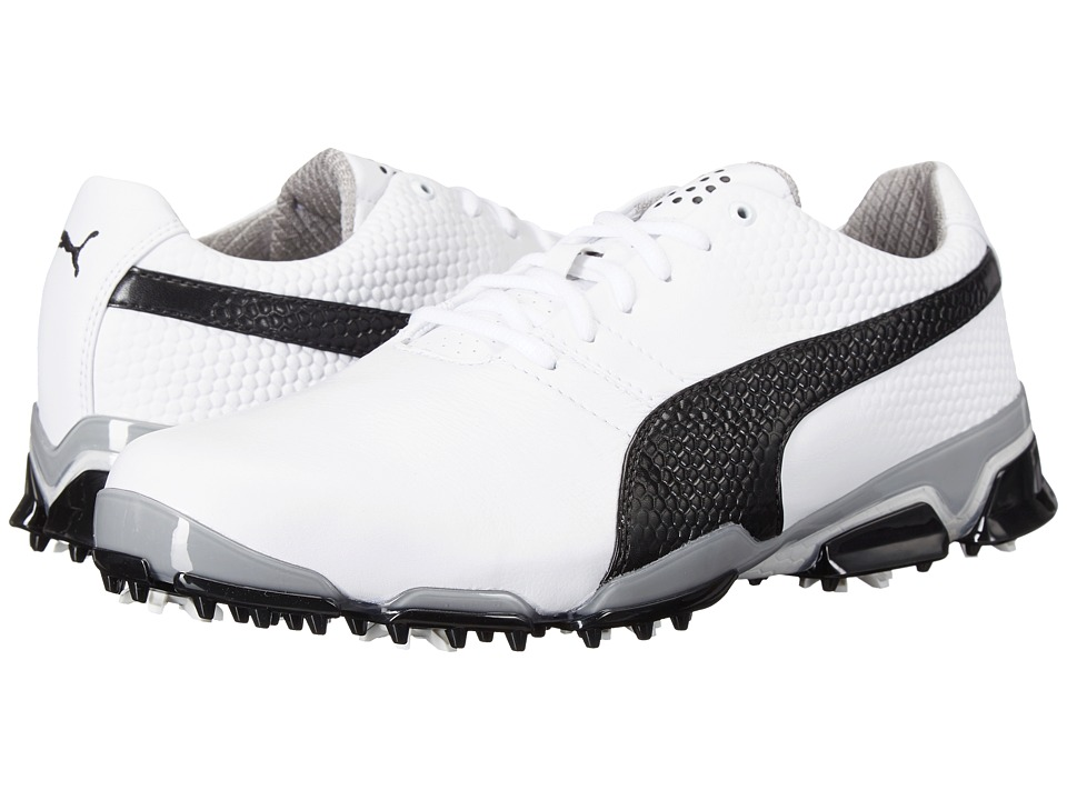 PUMA Golf - Titantour Ignite (White/Black/Drizzle) Men's Golf Shoes