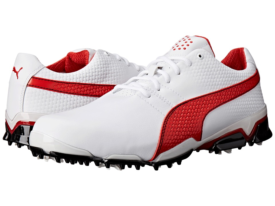 PUMA Golf - Titantour Ignite (White/High Risk Red/Black) Men's Golf Shoes