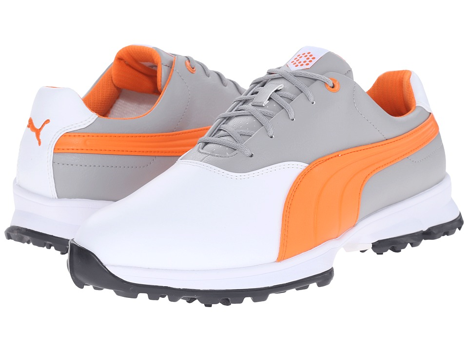 PUMA Golf - Golf Ace (White/Vibrant Orange/Drizzle) Men's Golf Shoes