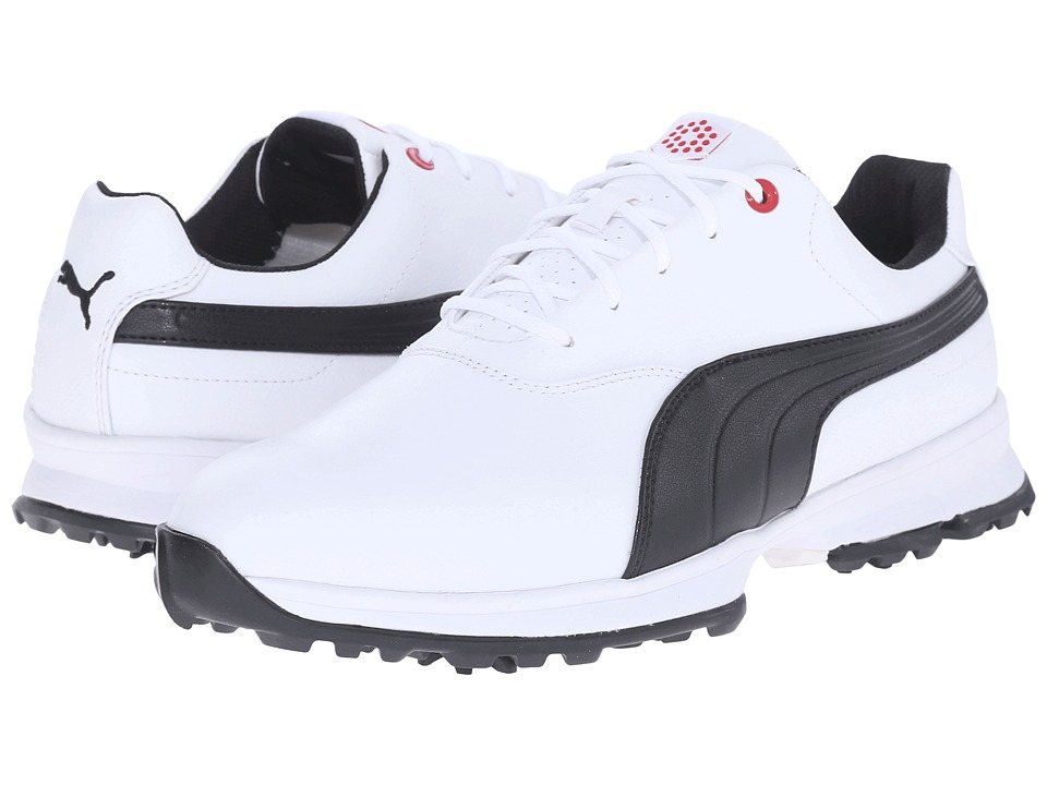 PUMA Golf - Golf Ace (White/Black/High Risk Red) Men's Golf Shoes
