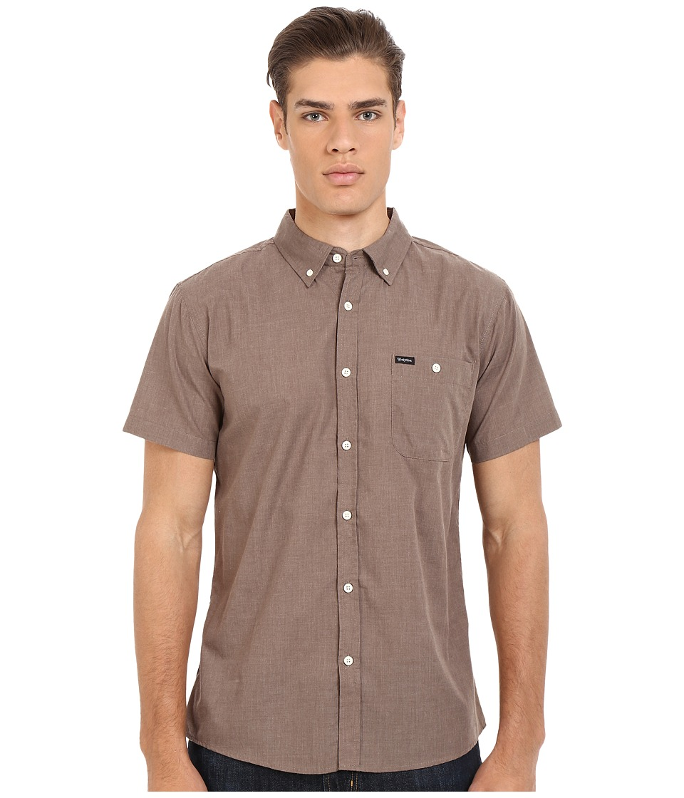 Brixton - Central Short Sleeve Woven Chambray (Heather Brown) Men's Clothing