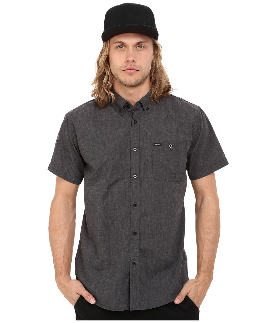 Brixton - Central Short Sleeve Woven Chambray (Heather Black) Men's Clothing