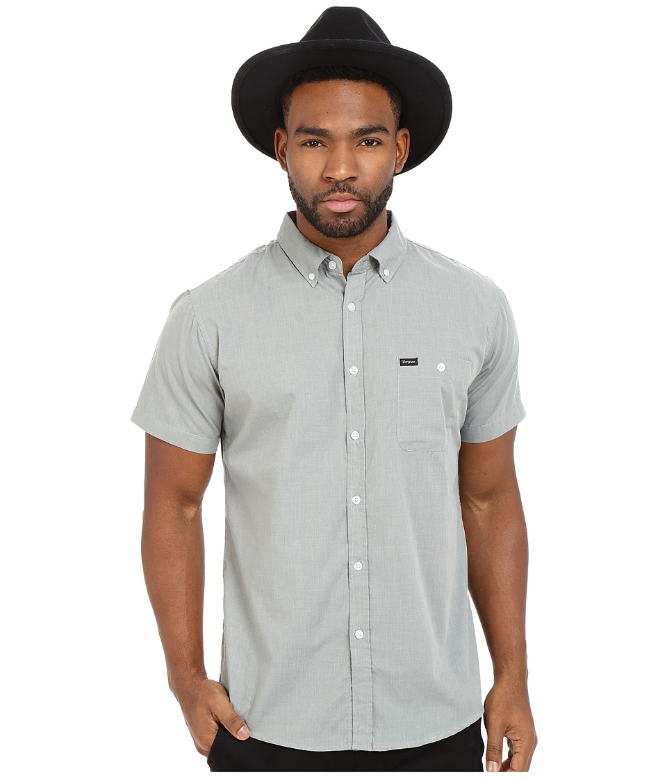 Brixton - Central Short Sleeve Woven Chambray (Heather Green) Men's Clothing