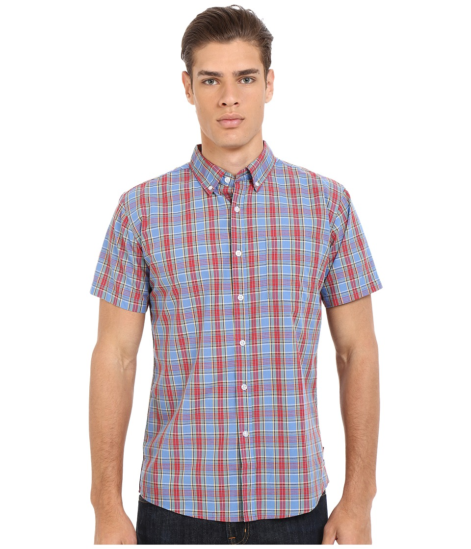 Brixton - Arthur Short Sleeve Woven (Red/Blue) Men's Short Sleeve Button Up