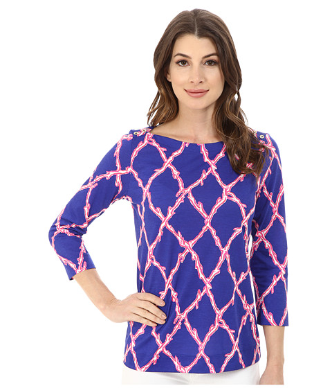 Lilly Pulitzer - Alida Top (Santorini Blue Deep Dive) Women's Clothing