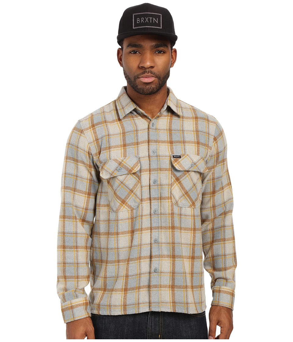 Brixton - Archie Long Sleeve Flannel (Heather Grey) Men's Long Sleeve Button Up