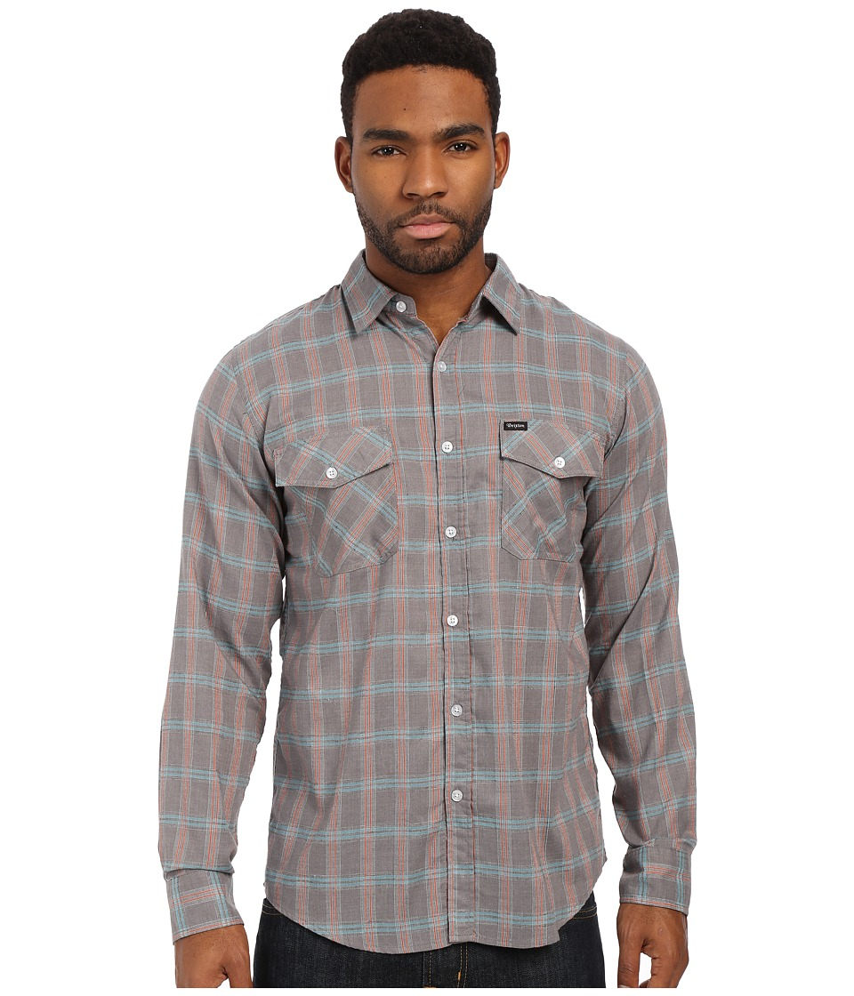 Brixton - Memphis Long Sleeve Woven (Grey) Men's Long Sleeve Button Up