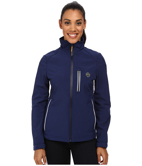 Khombu - Reflective Softshell Coat (Navy/Citrus) Women