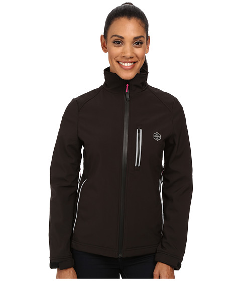 Khombu - Reflective Softshell Coat (Black/Lilac Rose) Women