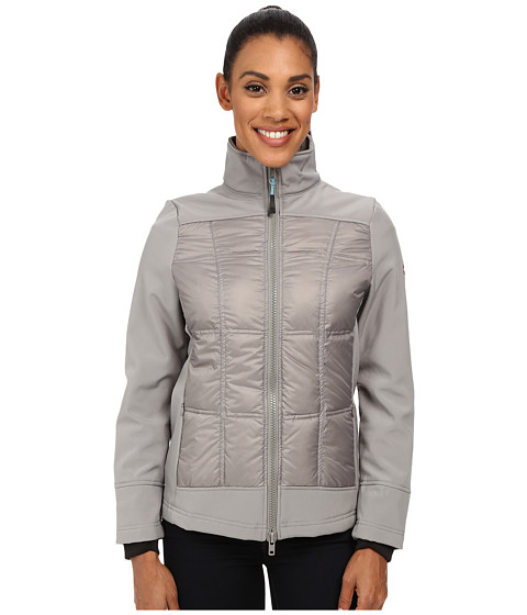 Khombu - Mix Media Reflective Softshell Coat (Wild Dove/Aqua See) Women's Coat