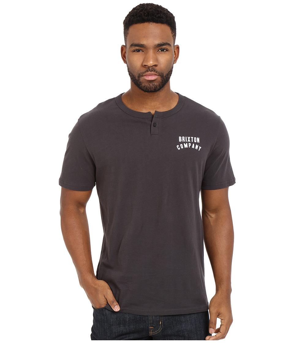Brixton - Woodburn Short Sleeve Henley (Washed Black) Men