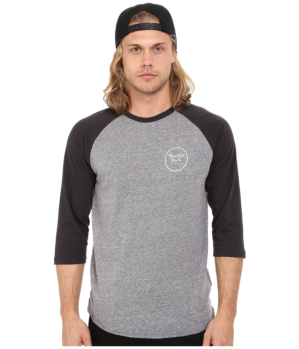 Brixton - Wheeler 3/4 Sleeve Tee (Heather Grey/Washed Black) Men's Long Sleeve Pullover