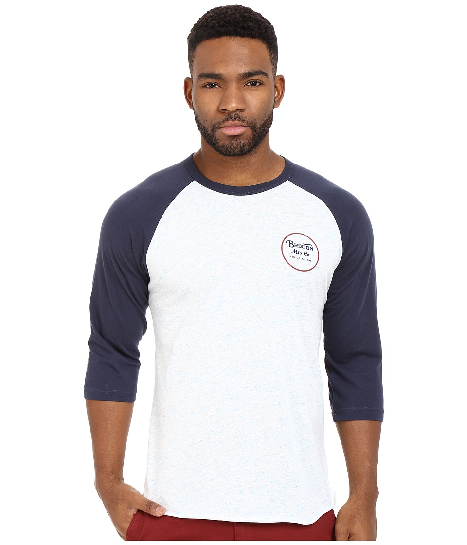 Brixton - Wheeler 3/4 Sleeve Tee (Heather Blue/Navy) Men's Long Sleeve Pullover
