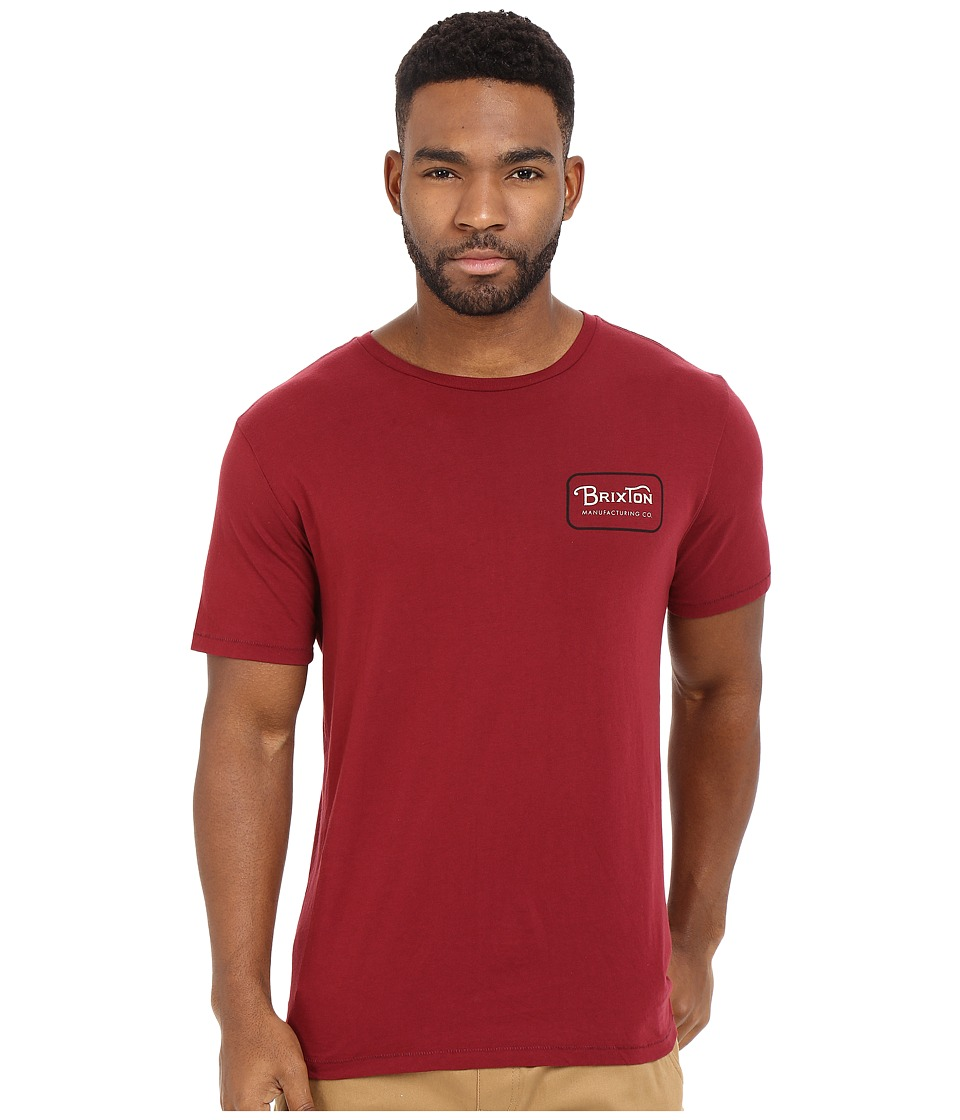 Brixton - Grade Short Sleeve Premium Tee (Burgundy/Black) Men's Short Sleeve Pullover