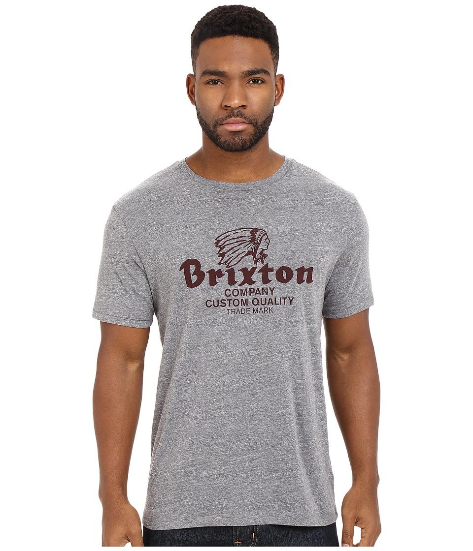 Brixton - Tanka Short Sleeve Premium Tee (Heather Grey/Maroon) Men's Short Sleeve Pullover