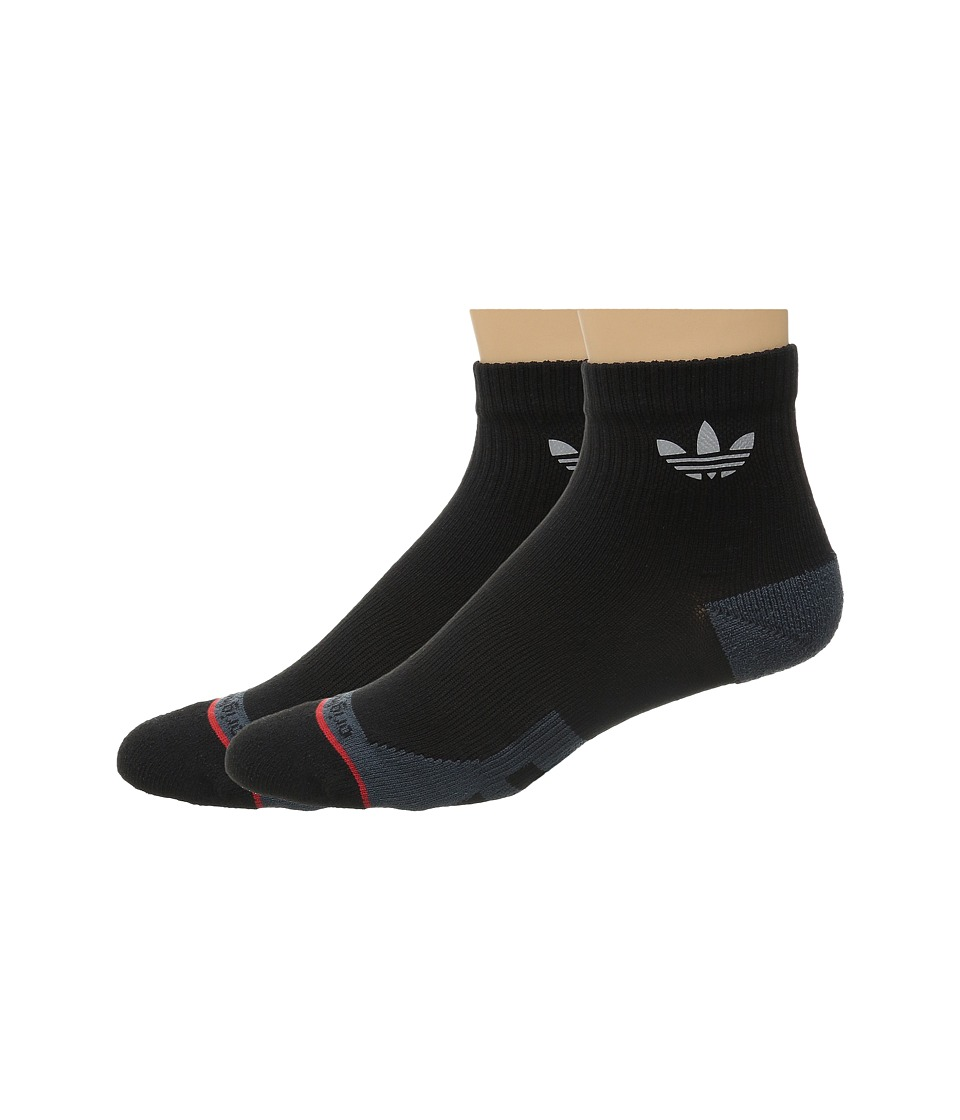adidas - Originals Pique Quarter 2-Pack Socks (Black/Bold Onix/Scarlet) Men's Quarter Length Socks Shoes