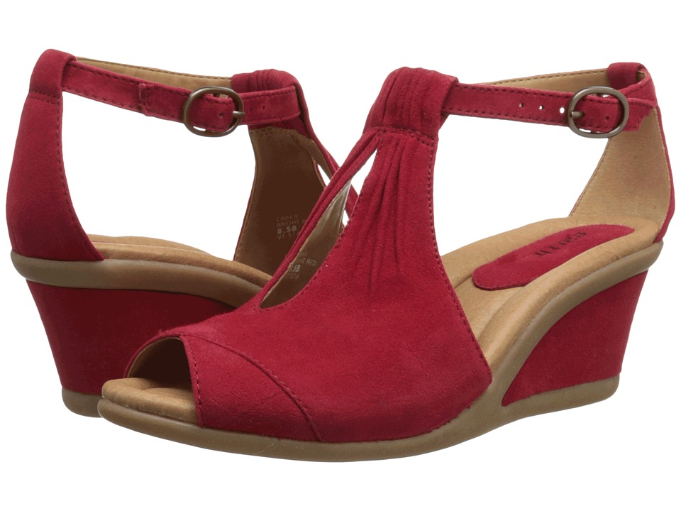 Earth - Caper (Bright Red Suede) Women's Wedge Shoes
