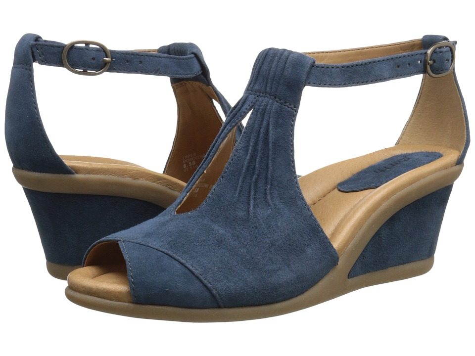 Earth - Caper (Moroccan Blue Suede) Women's Wedge Shoes