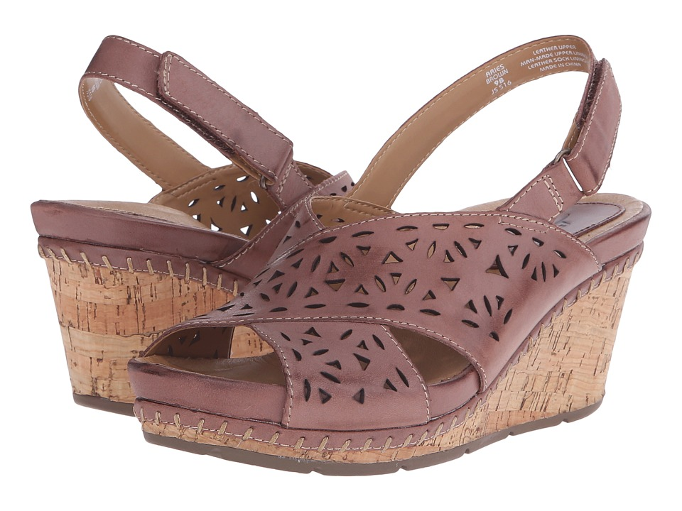 Earth - Aries (Brown Leather) Women's Wedge Shoes