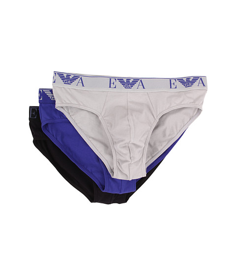 Emporio Armani - 3-Pack Stretch Cotton Brief (Blue/Navy/Silver) Men