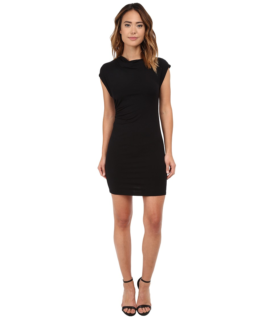 Michael Stars Drape Neck Dress w/ Asymmetrical Drape (Black) Women