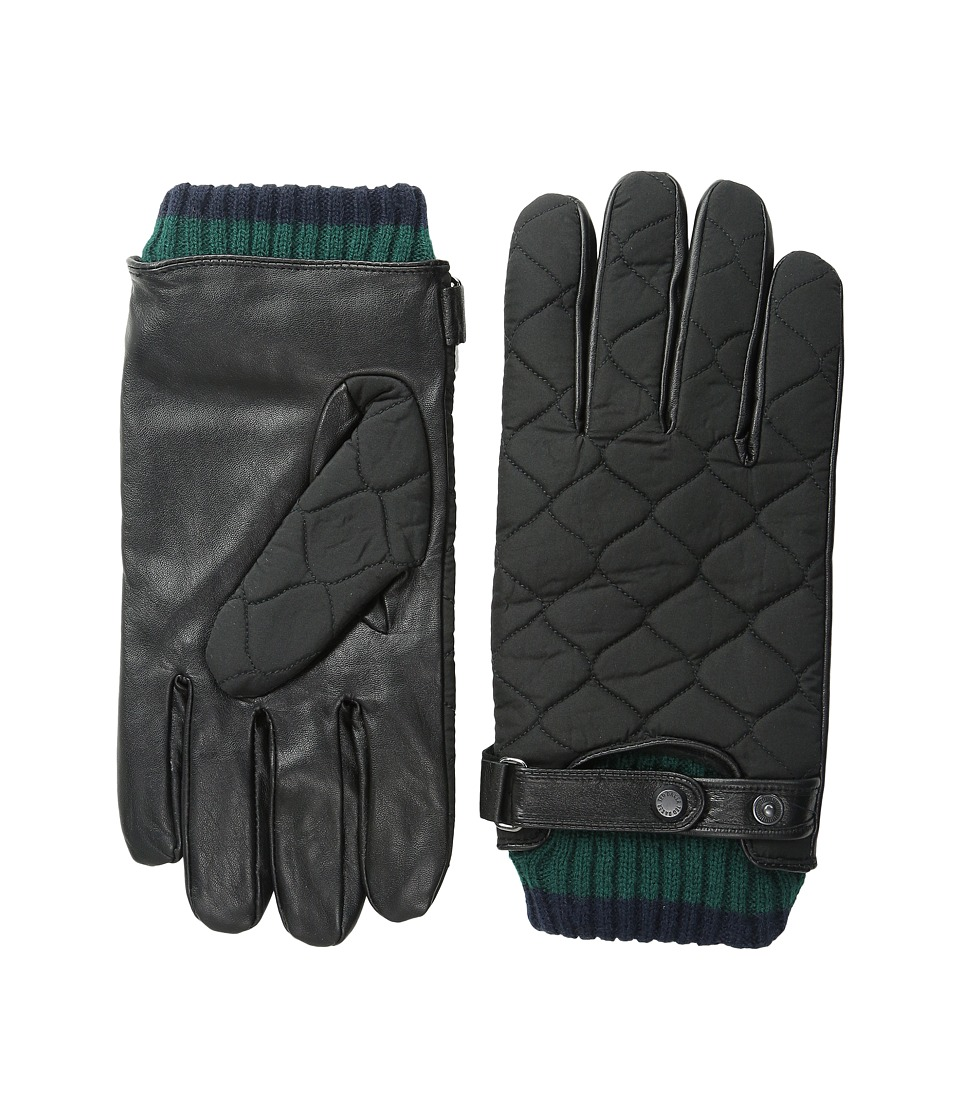 Ted Baker - Hofquil Quilted Nylon Leather Gloves (Black) Extreme Cold Weather Gloves