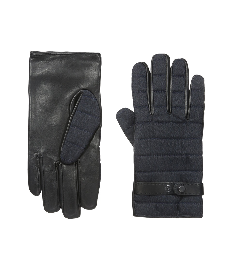 Ted Baker - Justfab Fabric and Leather Mix Gloves (Navy) Extreme Cold Weather Gloves