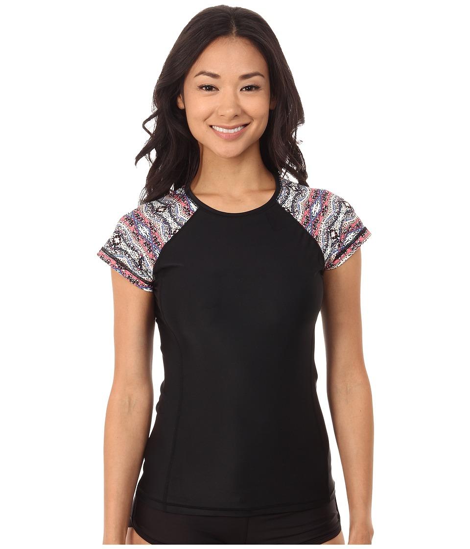 Volcom - Wild Yonder Short Sleeve Rashguard (Black) Women's Swimwear