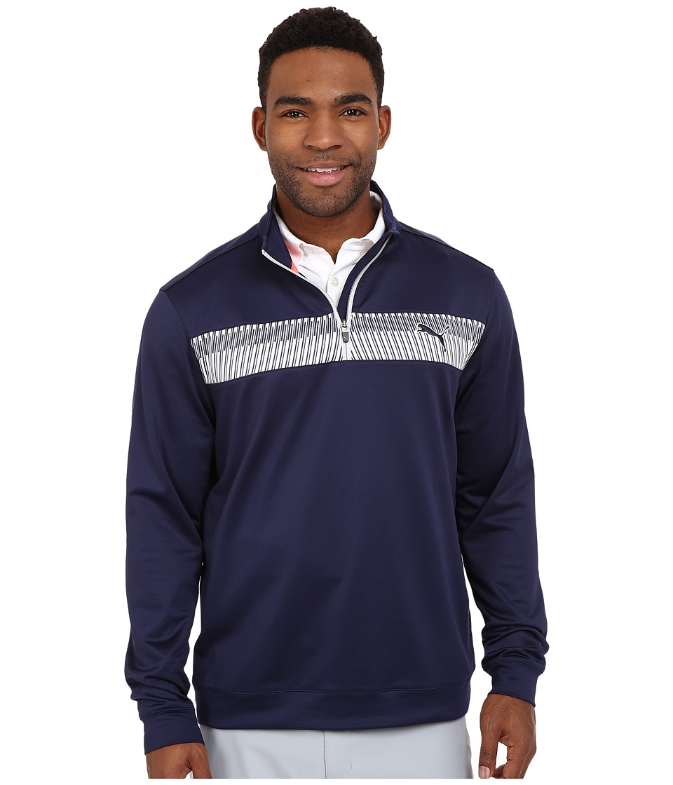 PUMA Golf - 1/4 Zip Block Popover (Peacoat) Men's Clothing