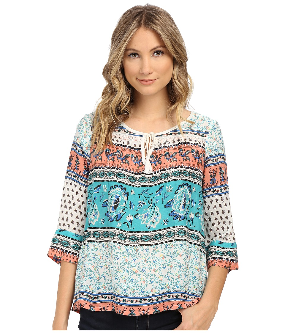 Roxy - Gypsy Breeze Woven Peasant Top (Sea Spray Tiered Paisley) Women's Blouse