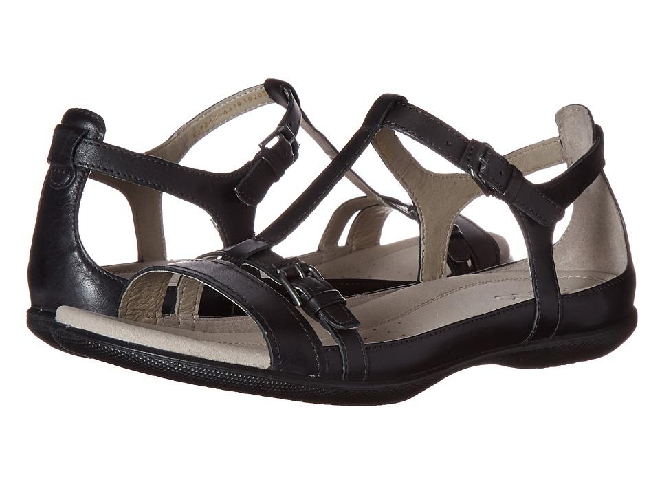 ECCO Flash T-Strap Sandal II (Black) Women