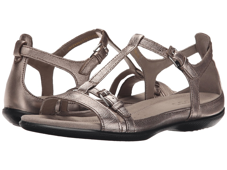 ECCO - Flash T-Strap Sandal II (Warm Grey Metallic) Women's Sandals