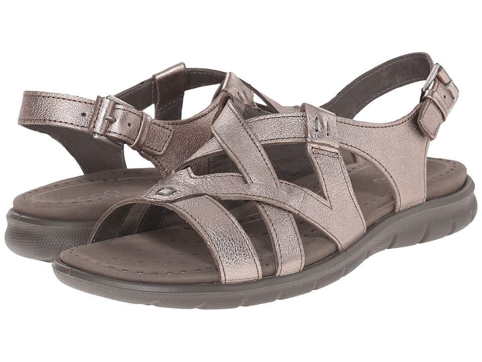ECCO - Babett Sandal Cross Strap (Warm Grey Metallic) Women's Sling Back Shoes