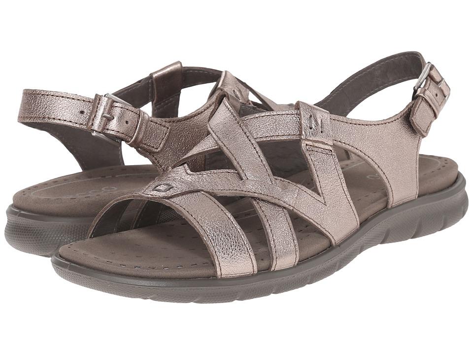 ECCO Babett Sandal Cross Strap (Warm Grey Metallic) Women
