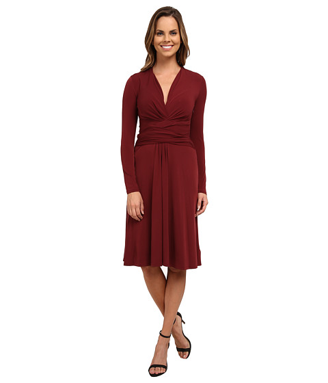 MICHAEL Michael Kors - Long Sleeve Faux Wrap Dress (Merlot) Women's Dress